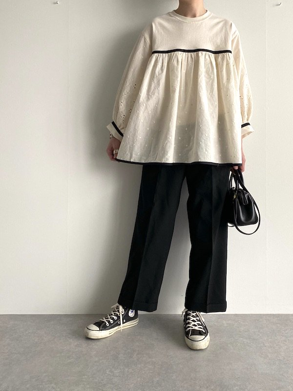 KICI - Cotton embroidery tunic  / リメイク刺繍 チュニック (Natural white)