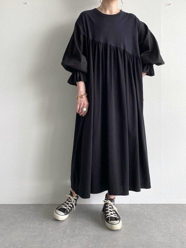 Remake  Bias long T-shirt Dress  / リメイクバイアスロングワンピース  (Black)