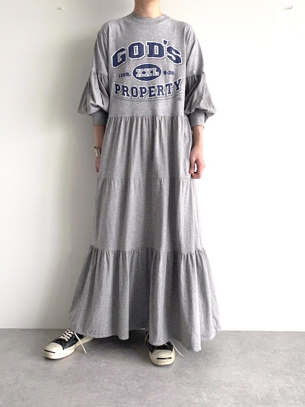 Remake tiered maxi dress  / リメイクティアードバルーン袖マキシワンピース(GY)