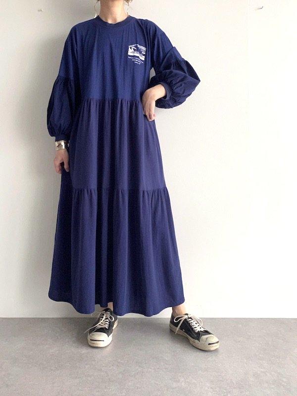 Remake tiered long dress  / リメイクティアードバルーン袖ロングワンピース(NV)