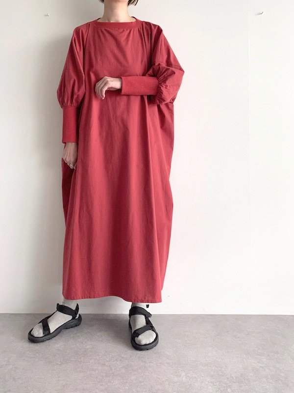 KICI  wide long rib dress  / ワイドロングリブワンピース (RED)