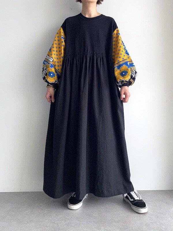 KICI -  African loose dress  / アフリカンルーズワンピース(BK/YE)