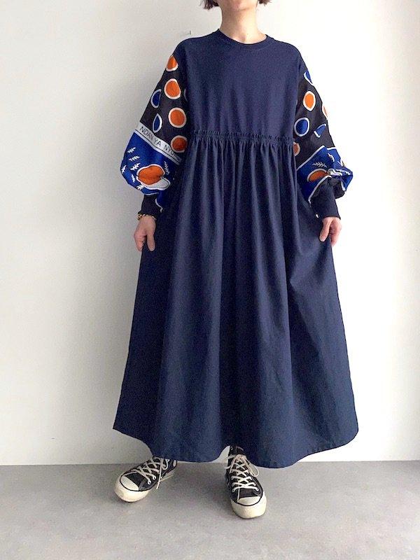 KICI -  African loose dress  / アフリカンルーズワンピース(NV/DOT)