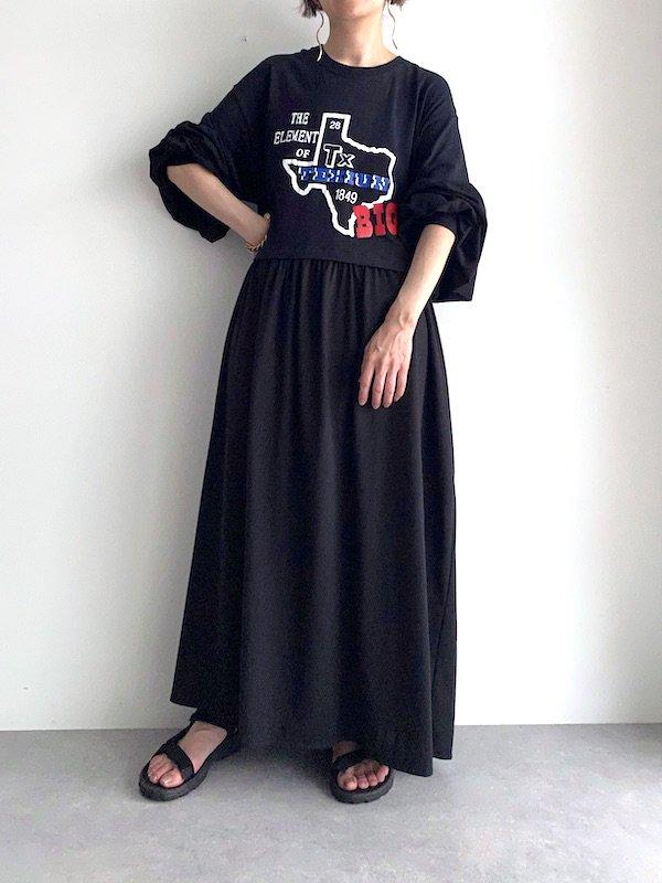 Remake loose maxi dress  / リメイクルーズマキシワンピース (BK)