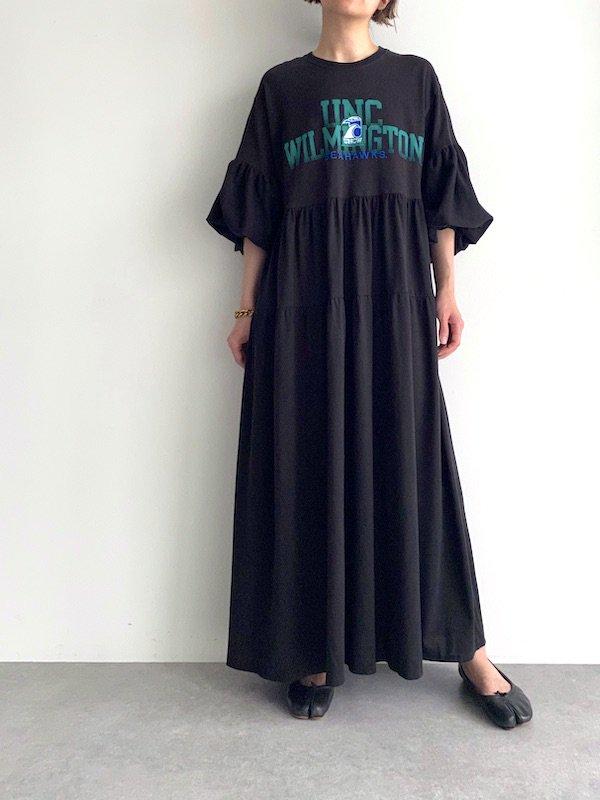Remake tiered maxi dress  / リメイクティアードバルーン袖マキシワンピース(BK/PRT)