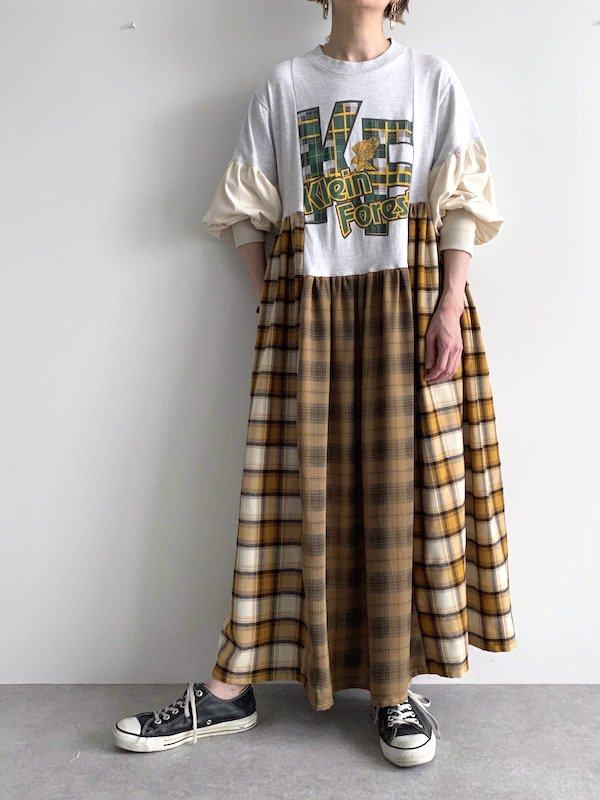 Remake asymmetry long dress  / リメイクアシンメトリーロングワンピース(YE/CH)