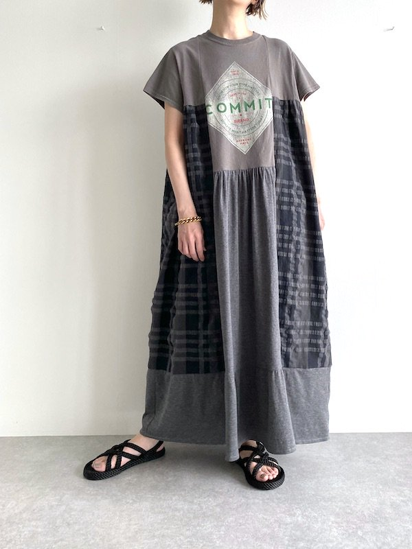 Remake asymmetry long dress  / リメイクアシンメトリーロングワンピース(C.GY)