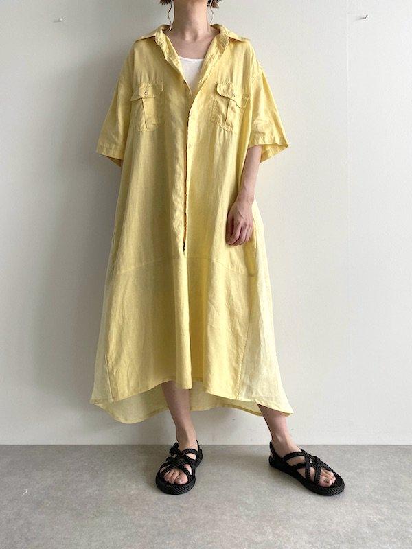 Remake linen shirts wide  dress  / リメイクワイドシャツワンピース(YE)
