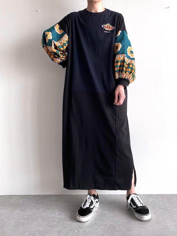 Remake  African  dress  / リメイクアフリカンワンピース(BK/GRN)