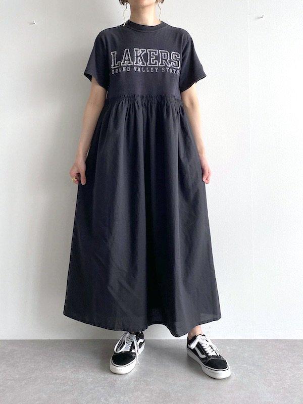 Remake long loose dress  / リメイクロングルーズワンピース (BK)