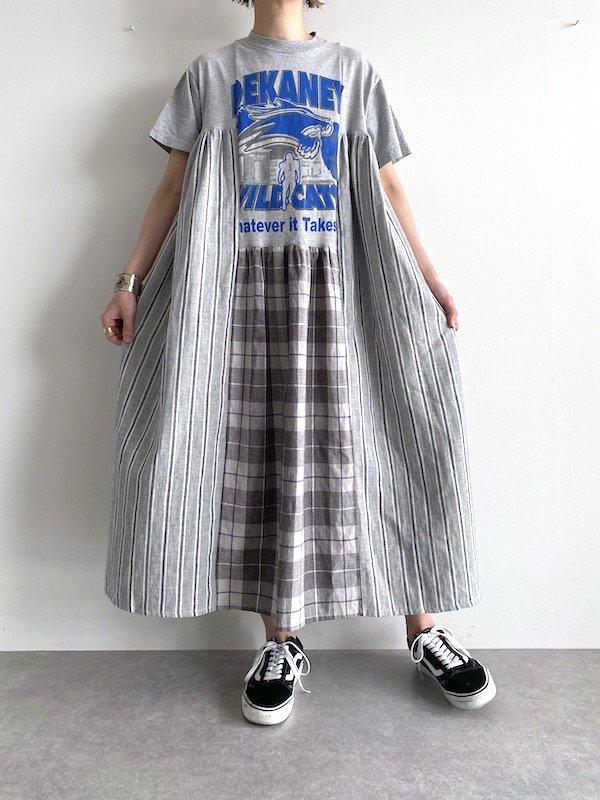 Remake asymmetry long dress  / リメイクアシンメトリーロングワンピース(ST.GY-1)