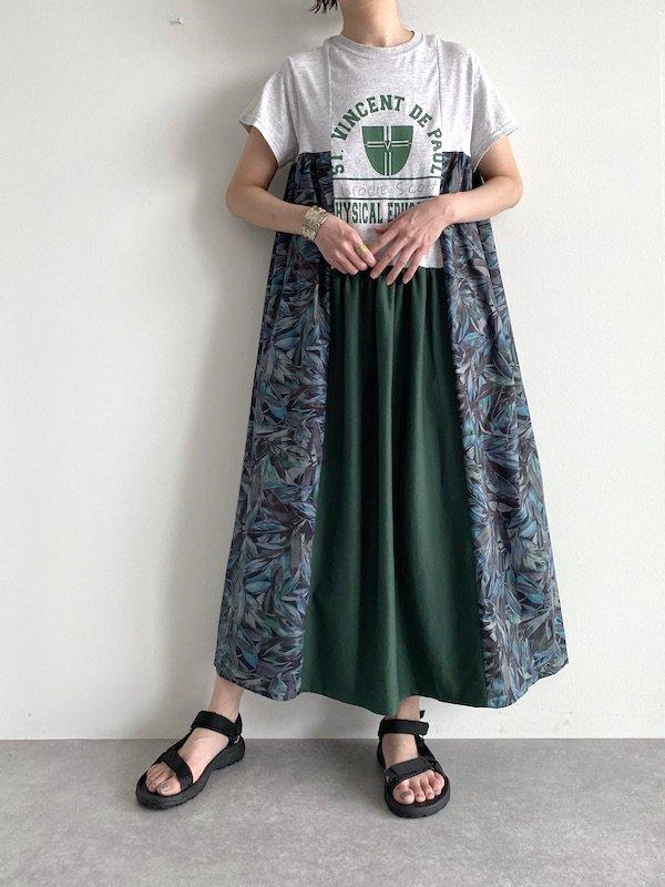 Remake asymmetry long dress  / リメイクアシンメトリーロングワンピース(GRN)