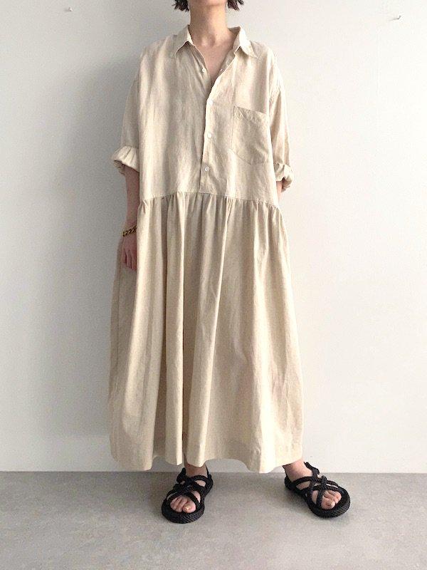Remake linen shirts wide  dress  / リメイクワイドシャツワンピース(BE)