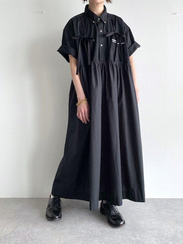 Remake ribbon shirts wide  dress  / リメイクリボンワイドシャツワンピース(BK)
