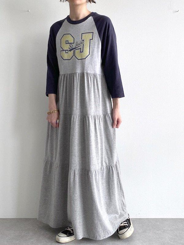Remake tiered maxi dress  / リメイクラグランティアードマキシワンピース(NV/GY)