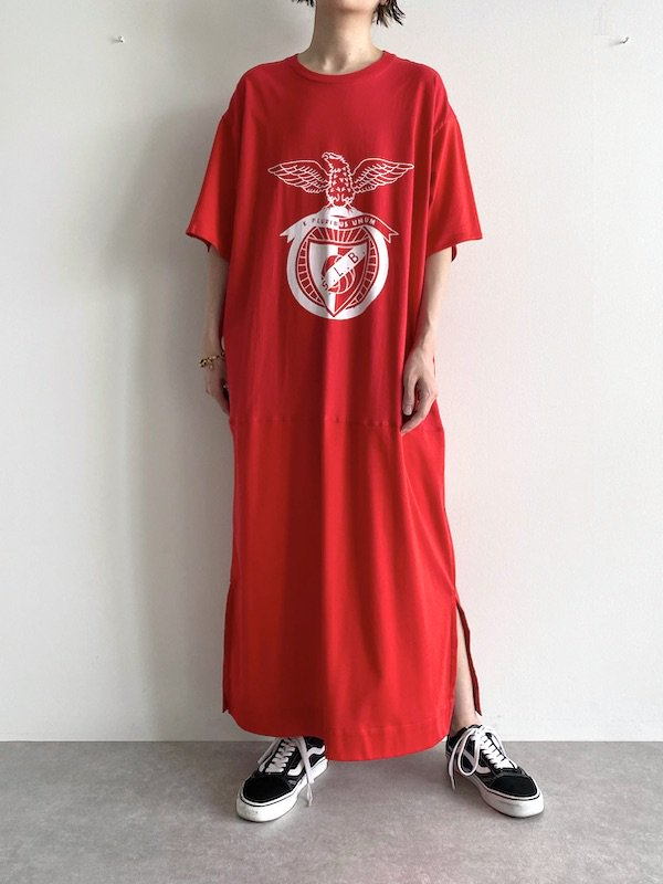 Remake maxi straight dress  / リメイク ストレートマキシワンピース(Red)
