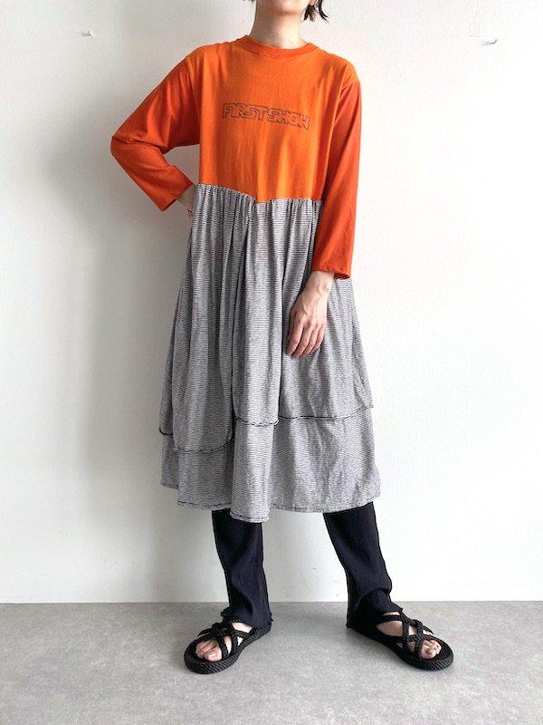 【miida×KICI】 Remake T-shirt Long Dress  / リメイク ロング  ワンピース (Black/Border)