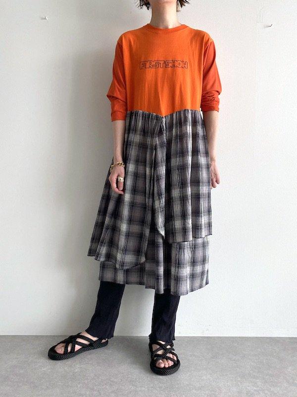 【miida×KICI】 Remake T-shirt Long Dress  / リメイク ロング  ワンピース (Black/Check)