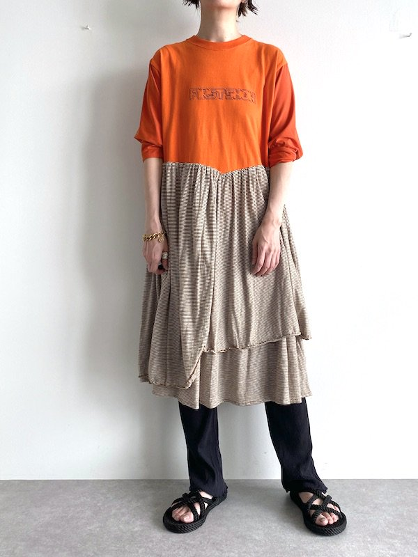 【miida×KICI】 Remake T-shirt Long Dress  / リメイク ロング  ワンピース (Brown/Border)