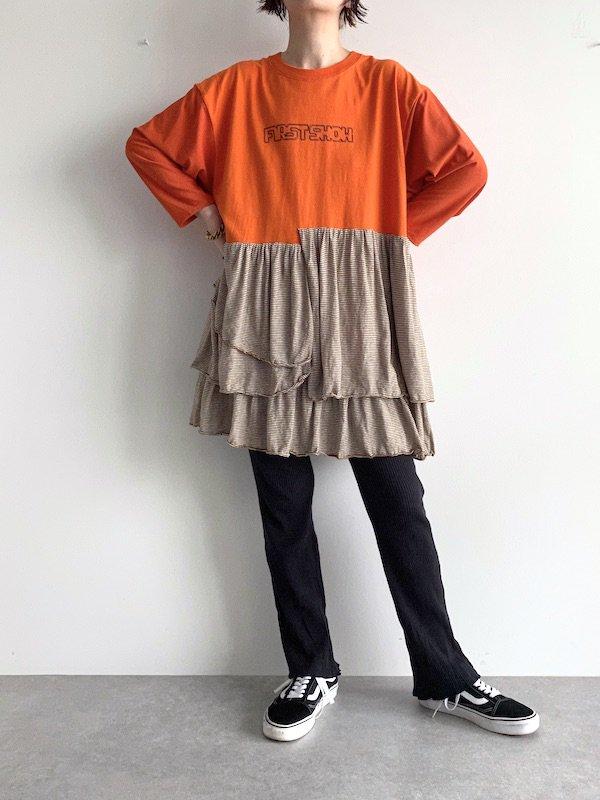 【miida×KICI】 Remake T-shirt mini Dress  / リメイク ミニ  ワンピース (Brown/Border)