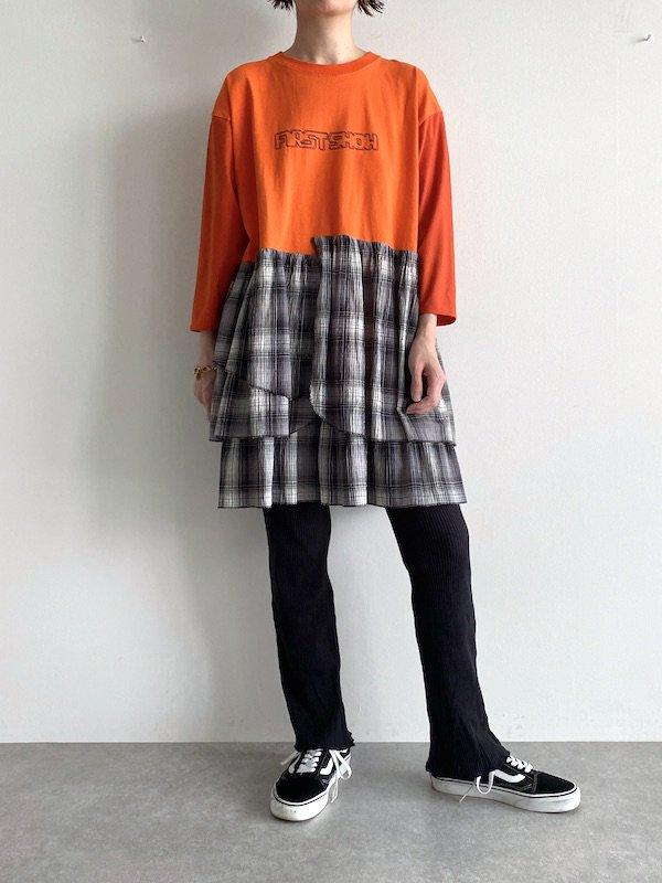 【miida×KICI】 Remake T-shirt mini Dress  / リメイク ミニ  ワンピース (Black/Check)