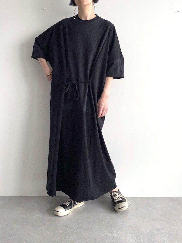【KICI】wide dress  / ワイドワンピース  / 125cm  (Solid /BLACK)