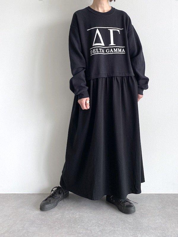 Remake maxi loose sweat dress  / リメイクルーズスウェットワンピース (BK)