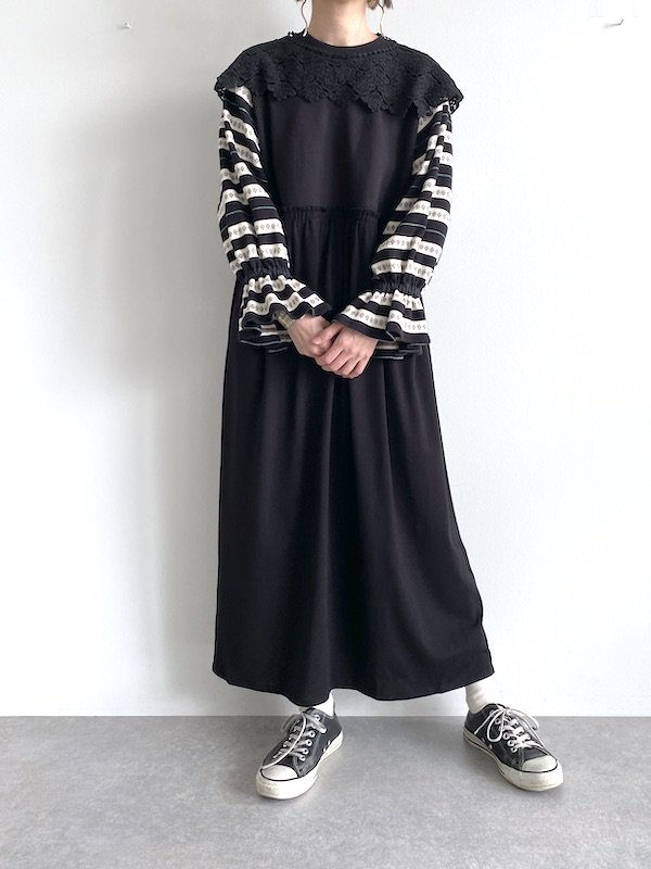 KICI  Knit sleeve loose sweat dress  / ニットスリーブ スウェットワンピース レース襟付き