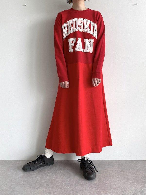 Remake sweat flare dress  /  リメイクスウェットフレアワンピース (Red)