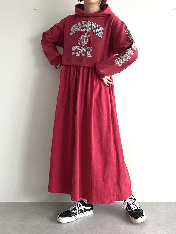 Remake long parka lose dress  / リメイクパーカー ルーズワンピース (RED)