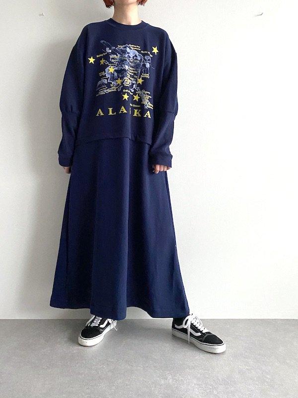 Remake long flare sweat dress  / リメイクフレアスウェットワンピース (NV/ALASKA)