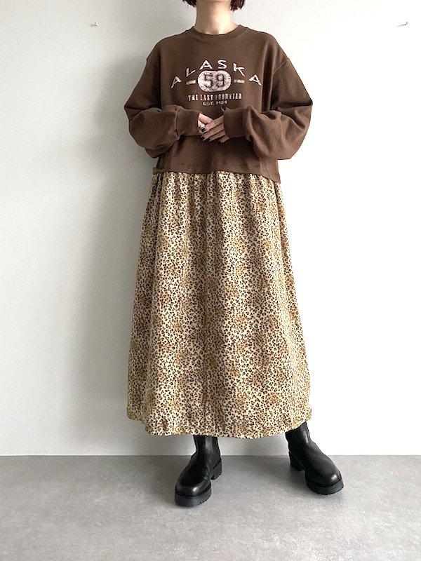 Remake  leopard maxi sweat dress / リメイクスウェットレオパードニット マキシワンピース (BRN)