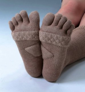 キャメル混5本指健康靴下