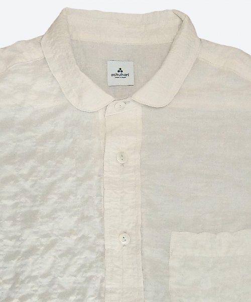 shirring round collar short sleeved shirt ( ashuhari )