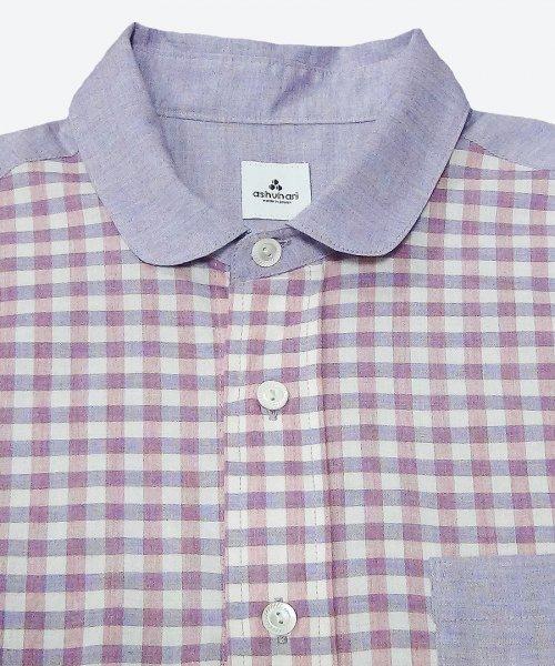 gingham round collar short sleeved shirt ( ashuhari )