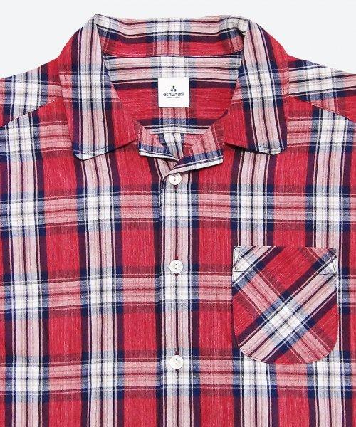 tartan check open collar short sleeved shirt ( ashuhari )