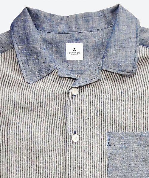 stripe open collar short sleeved shirt ( ashuhari )