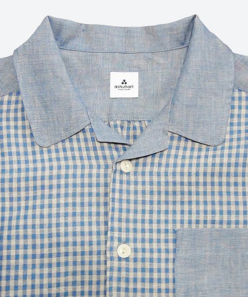 gingham open collar short sleeved shirt ( ashuhari )