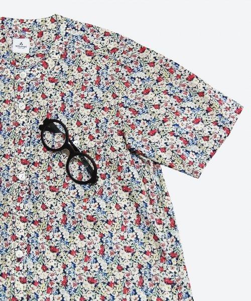 flower collarless short sleeved dress ( ashuhari )