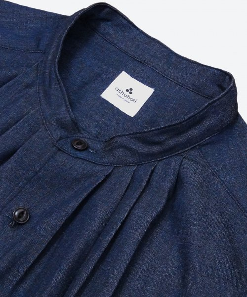 indigo band collar tuck shirt ( ashuhari )