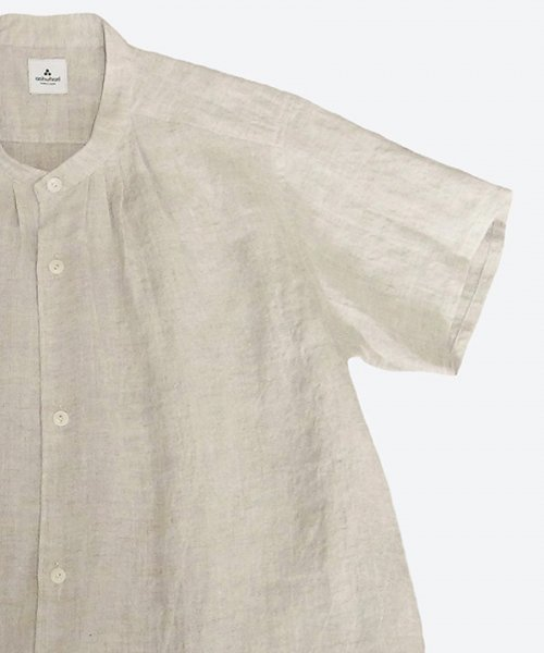 <img class='new_mark_img1' src='https://img.shop-pro.jp/img/new/icons59.gif' style='border:none;display:inline;margin:0px;padding:0px;width:auto;' />  ramie/linen band collar tuck short sleeved shirt  ( ashuhari )