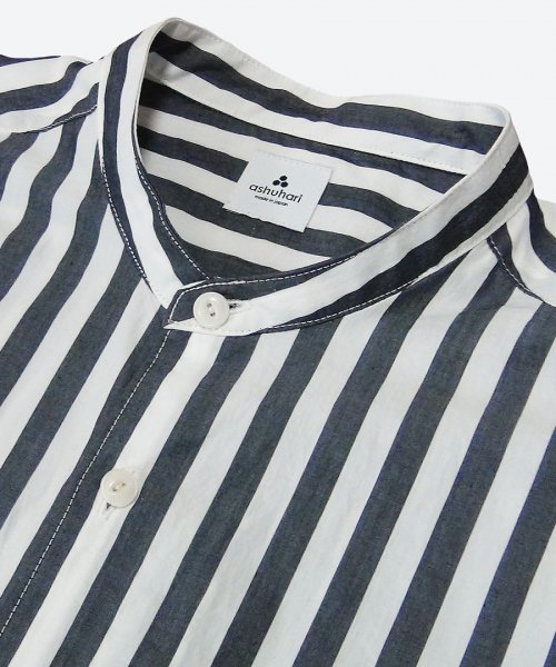 stripe band collar Aline shirt ( ashuhari )