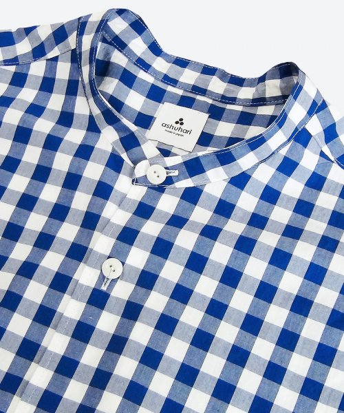 gingham band collar Aline shirt ( ashuhari )