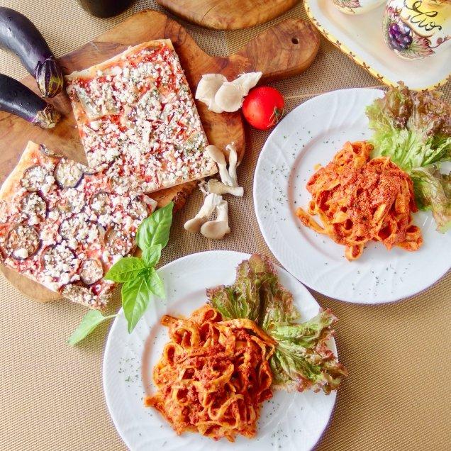 手作りパスタ&有機野菜の天然酵母ピザセット<パスタ2食、ピザ2食入>