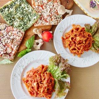 無添加パスタ&有機野菜の天然酵母ピザセット<パスタ2食、ピザ3食入>