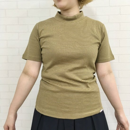 Vincent et Mireille - サーキュラーリブ ハイネック 細ボーダー 半袖Tシャツ(VM201CR17422)