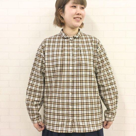 Parkes - 30sビエラスモールチェック 小さい丸えりの1タックシャツ