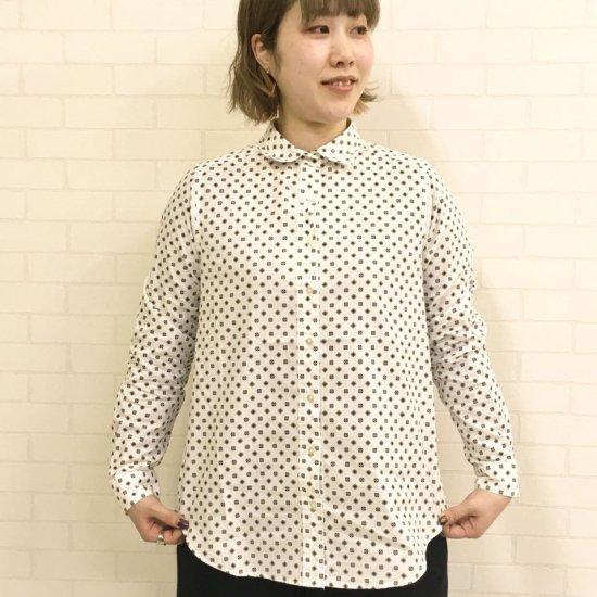 Parkes - 40sダンガリー小紋柄レギュラーカラーシャツ 製品洗い