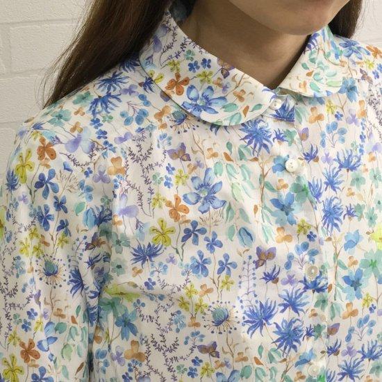 Parkes - タナローン 丸衿ヨークギャザー長袖シャツ (リバティコレクション)