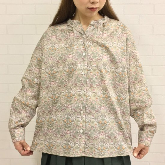 Parkes - タナローン バンドカラースキッパー長袖 タックシャツ (リバティコレクション)